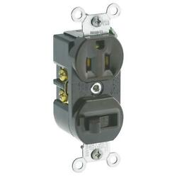 50-leviton Brown Single Pole 15a/120v Toggle Switch And 5-15r Outlet S00-5225-00s