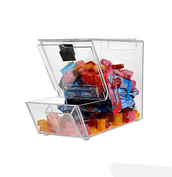 Acrylic Candy Bin, Dry Foods, Beans, Toys Bins Holder Display Box Countertop Con