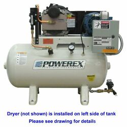 Powerex STS 5-HP 60-Gallon Oil-Less Open Scroll Air Compressor w/ Refrigerate...
