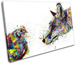 Fox Chicken Colourful Abstract Animals Single Canvas Wall Art Picture Print