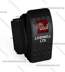 Labeled Marine Contura Ii Rocker Switch Carling Lighted, Livewell Lts Red Lens