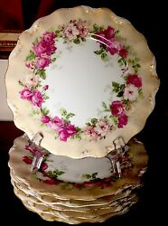 6 Antique Tressemann And Vogt French Limoges Hand Finished Roses Scalloped Plates