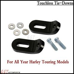 Pair Motorcycle Black Touchless Tie-downs For Harley Touring Electra Glide Flh/t
