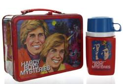 1977 The Hardy Boys Mysteries Lunch Box With Thermos Set Blue Cup