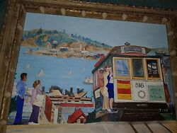 Oil Painting On Canvas 1981 Original Cable Car Sf Signed 18 X 24