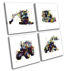 Tractor Farm Colorful For Kids Room Multi Canvas Wall Art Picture Print