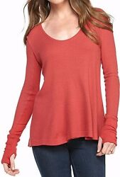 Free People Ob521805 Malibu High-low Long Sleeve Thermal Top In Washed Red
