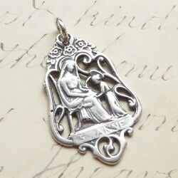 Sterling Silver St Anne Medal - Sterling Silver Antique Replica