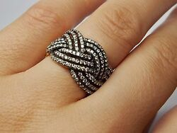 18 Kt Yellow Gold Rhodium Plated Ring With White Diamonds