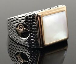 925 Sterling Silver Mother Of Pearl Sultan Signature Menand039s Ring Us Seller K46c