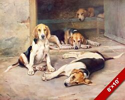 BEAGLE HOUNDS DOGS PET PUPPY DOG ART PAINTING PRINT ON REAL CANVAS