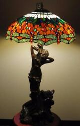 Style Bronze 44 Lamp Twins Of The Ocean W/ Blue Salmon Dragonfly Shade