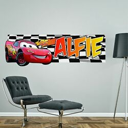 Lightning Mcqueen Cars Personalised Wall Sticker Childrens Bedroom Decal Art