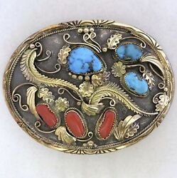 Justin Morris Native American 14k Gold And Silver Buckle Turquoise And Coral, 110.8g