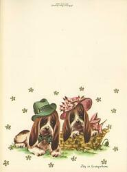 VINTAGE BASSET HOUND DOGS BOY GIRL GREEN BOW TIE PINK HAT LITHO CARD ART PRINT