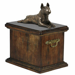 Pet cremation Urn Bull Terrier- Memorial Urn for Dog's asheswith Dog statue.14