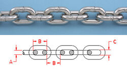 5 Ft Stainless Steel 5/16 Din 766 Bbb Anchor Chain 316l Repl. Suncor S0601-0008