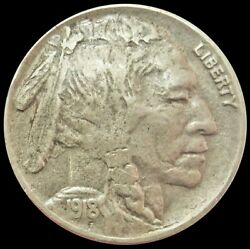 1918 D United States Buffalo Nickel Coin Extremely Fine Condition Denver Mint