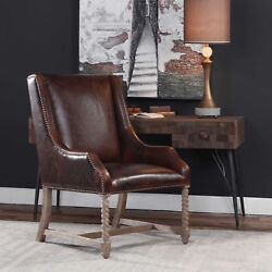27 W Lily Accent Chair Hand Carved Wood Top Grain Chocolate Brown Leather