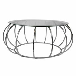 42 W Carlos Coffee Table Cage Style Polished Steel Tempered Clear Glass Top