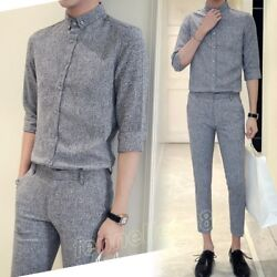 Men Fashion Casual Prom Formal Dress Pant Suits 3/4 Sleeve Tops Slim Fit Trouser