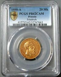 1888 A Gold Prussia Germany Proof 20 Mark Friedrich Iii Coin Pcgs Pr 62 Cameo