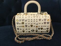 NWT Coach 1941 Beatnik Rivets Double Dinky Leather Crossbody Bag Cream 86813