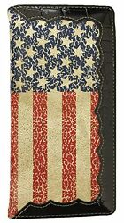Men Wallet Western Bifold Check Book Style W045 American Flag $13.99