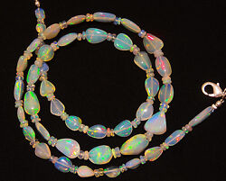 Natural Ethiopian Opal Super Electric Fire Play Nugget amp; Rondelle Beads Necklace