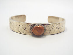 Vtg Native American Hammered Sterling Silver And Opalized Pink Stone Cuff Bracelet