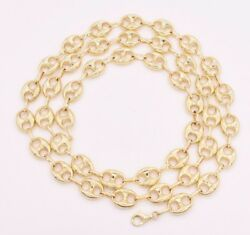 10mm Puffed Mariner Anchor Link Chain Necklace Real Solid 10k Yellow Gold
