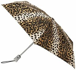 Totes Micro Auto OpenAuto Close Umbrella Leopard One Size