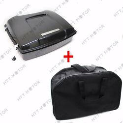 Unpainted Black Tour Pak Pack Trunk w Lock & Liner Bag For Harley Touring 97-08