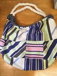 Old Navy Cotton Summer Beach Tote Bag Purse w Rope Like Straps