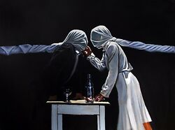 Relations - Oil On Board By Charles Sabourin