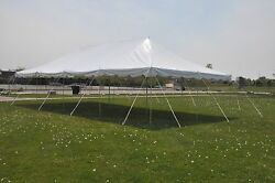 20x40 White Canopy Pole Tent Graduation Wedding PARTY PACKAGE Tables and Chairs