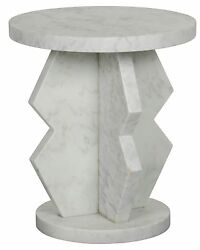 23 Set Of Two Side Table Night Stand White Marble Stone Modern Smooth 8632