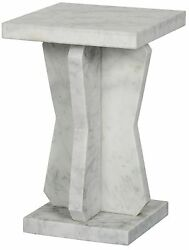 23 Set Of Two Side Table Night Stand White Marble Stone Modern Smooth 9298