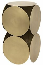 24 Set Of Two Side Table Night Stand Metal Antique Brass Vintage Finish 4011