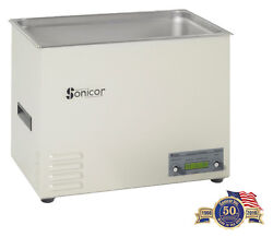 New Sonicor Ds-401th 7.0 Gal Digital Benchtop Ultrasonic Cleaner W/cover+basket