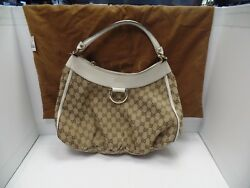 GUCCI GOLD D RING CANVAS HOBO BAG 189833 $299.98