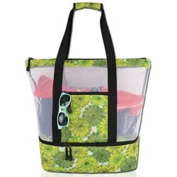 Mesh Beach Tote Shoulder Bag-Zipper Top with Insulated Picnic Cooler Extra Large