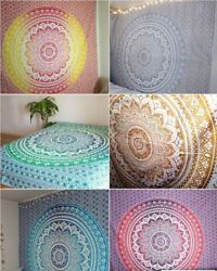 Indian Ombre Mandala Wall Hanging Gypsy Tapestry Dorm Throw Bedding Coverlet Art