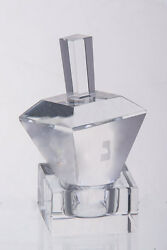 Crystal Dreidel With Square Top + Square Stand , Etched Hebrew Letters 3 Tall