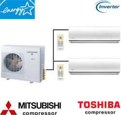 18000 - 60000 BTU Dual Zone Ductless Mini Split Air Conditioner Heat Pump