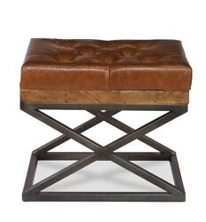 22 L Beniamino Bench Old Reclaimed Wood Iron Base Rustic Leather Cushion