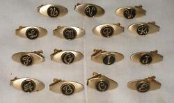 Lot Of 15 Vintage Gold Tone Letter Tie Clips