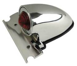Ultima Die Cast Chrome Plated Original Chopper Style Taillight 12v Led Red Lens