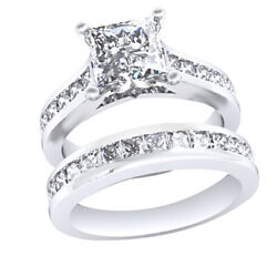 3.25ct Princess Cut 14k White Gold Channel Set Engagement Ring And Wedding Band