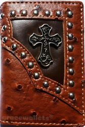 Cross Mens Wallet Western Trifold W013 55 Ostrich Brown $12.99